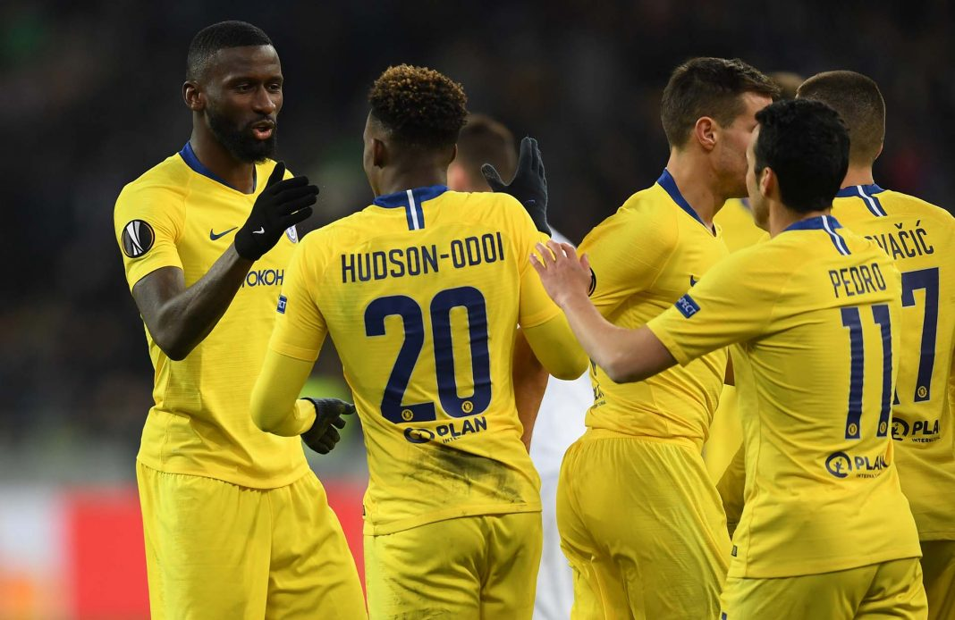 Callum Hudson-Odoi celebrates with teammate Antonio Ruediger after scoring his team's fifth goal during the UEFA Europa League Round of 16 Second Leg match between Dynamo Kyiv and Chelsea at NSC Olimpiyskiy Stadium on March 14, 2019 in Kiev, Ukraine.