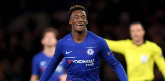 Callum Hudson-Odoi celebrates after scoring his team's third goal during the UEFA Europa League Round of 16 First Leg match between Chelsea and Dynamo Kyiv at Stamford Bridge on March 07, 2019 in London.