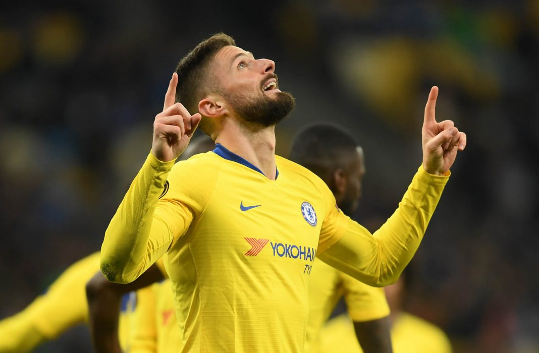 Olivier Giroud of celebrates after scoring his team's first goal during the UEFA Europa League Round of 16 Second Leg match between Dynamo Kyiv and Chelsea at NSC Olimpiyskiy Stadium on March 14, 2019 in Kiev, Ukraine.
