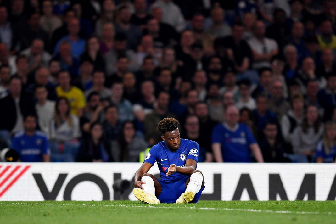 Callum Hudson-Odoi reacts to an injury during the Premier League match between Chelsea FC and Burnley FC at Stamford Bridge on April 22, 2019 in London.