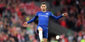 Jorginho in action during the Premier League match between Liverpool FC and Chelsea FC at Anfield on April 14, 2019 in Liverpool.