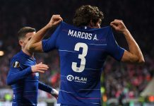 Marcos Alonso celebrates after scoring his team's first goal during the UEFA Europa League Quarter Final First Leg match between Slavia Prague and Chelsea at Eden Stadium on April 11, 2019 in Prague, Czech Republic.