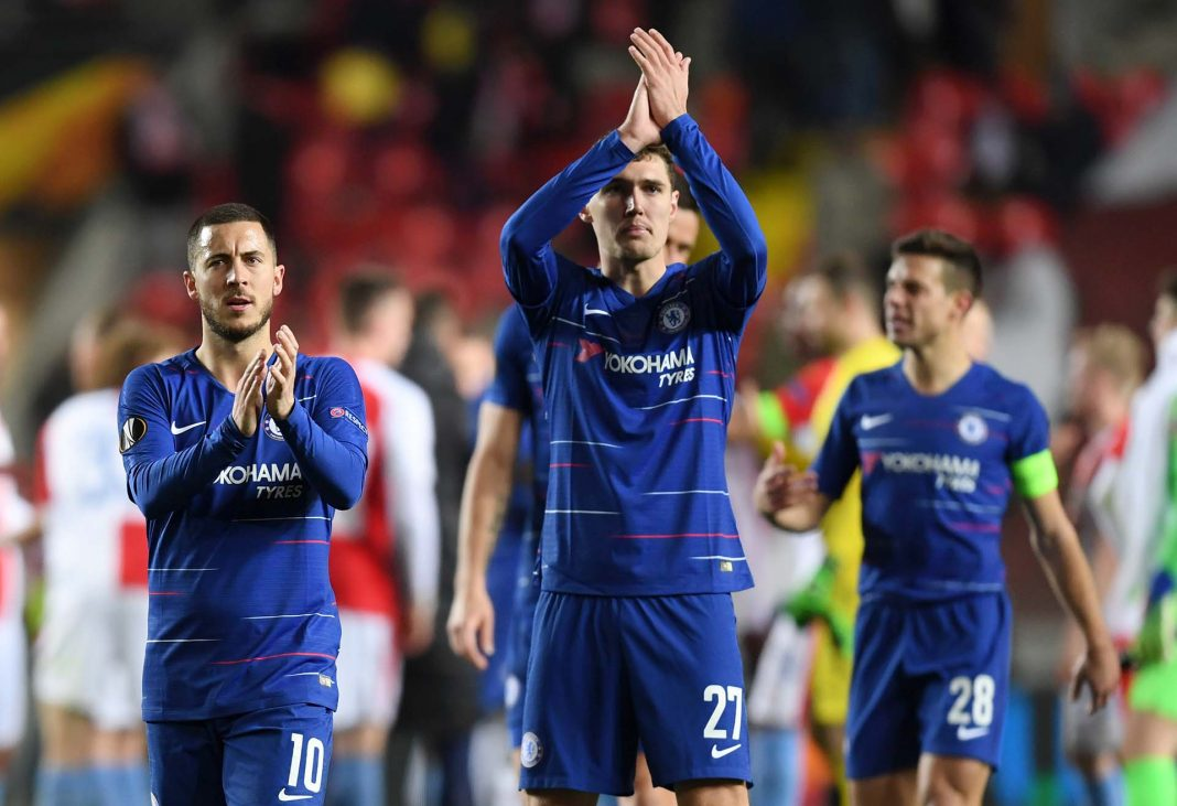Eden Hazard and Andreas Christiansen celebrate following their sides victory in the UEFA Europa League Quarter Final First Leg match between Slavia Prague and Chelsea at Eden Stadium on April 11, 2019 in Prague, Czech Republic.