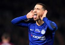 Eden Hazard celebrates after scoring his team's first goal during the Premier League match between Chelsea FC and West Ham United at Stamford Bridge on April 08, 2019 in London.