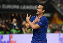 Pedro celebrates after scoring his team's second goal during the UEFA Europa League Final between Chelsea and Arsenal at Baku Olimpiya Stadionu on May 29, 2019 in Baku, Azerbaijan.