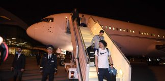 David Luiz of Chelsea as they arrive in Baku at Baku International Airport on May 27, 2019 in Baku.
