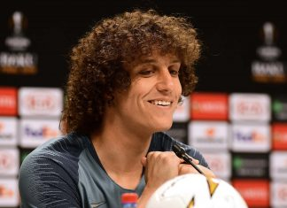 David Luiz at the Press Conference at the Olympic Stadium on May 28, 2019 in Baku, Azerbaijan.