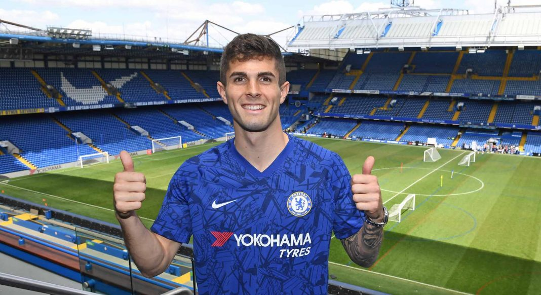 New signing Christian Pulisic arrives for his first day at Stamford Bridge on May 21, 2019 in London.