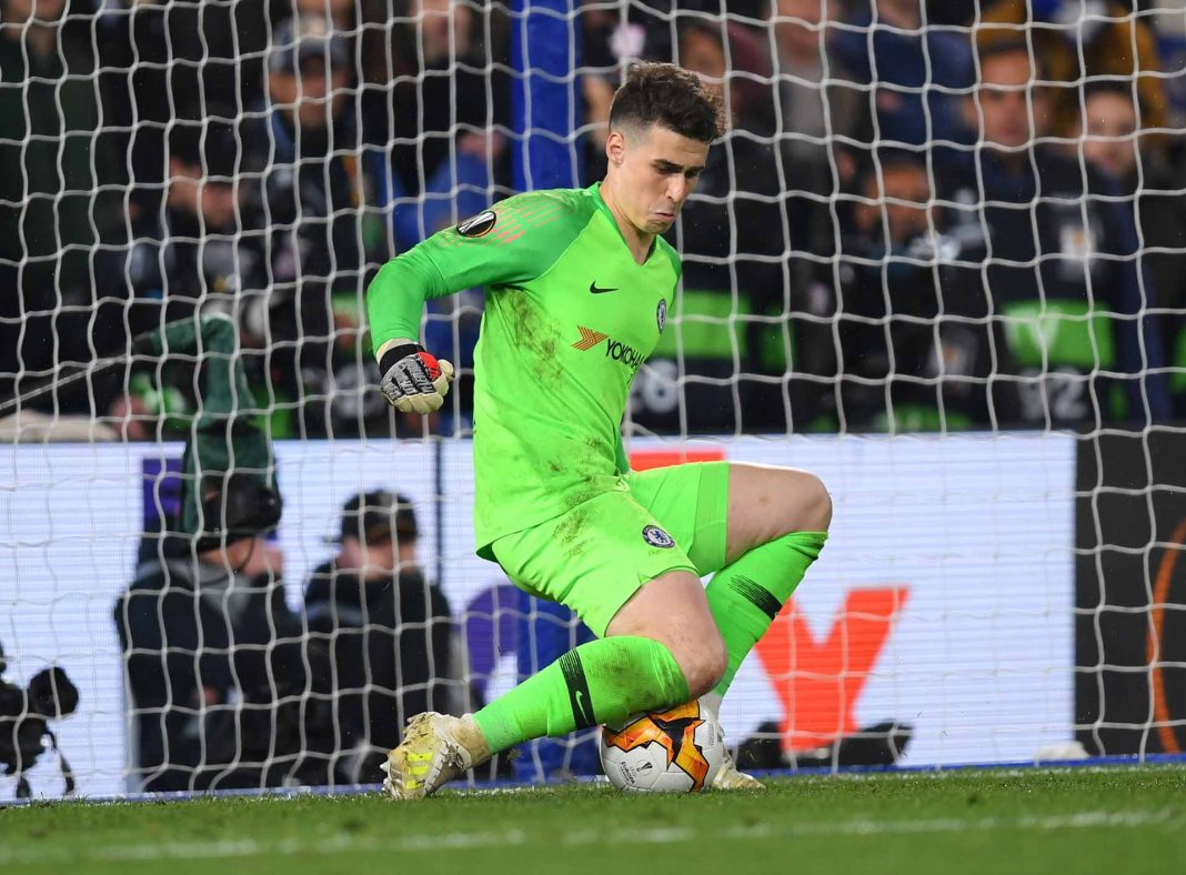 Kepa Arrizabalaga saves a penalty from Martin Hinteregger of Eintracht Frankfurt (not pictured) during the UEFA Europa League Semi Final Second Leg match between Chelsea and Eintracht Frankfurt at Stamford Bridge on May 09, 2019 in London.