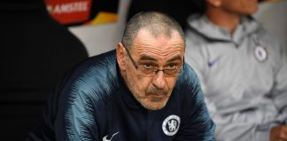 Maurizio Sarri, Manager looks on prior to the UEFA Europa League Semi Final First Leg match between Eintracht Frankfurt and Chelsea at Commerzbank-Arena on May 02, 2019 in Frankfurt am Main, Germany.