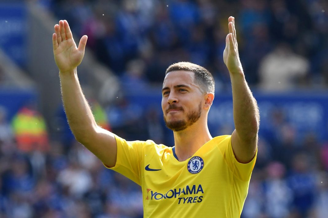 Eden Hazard acknowledges the fans after the Premier League match between Leicester City and Chelsea FC at The King Power Stadium on May 12, 2019 in Leicester.
