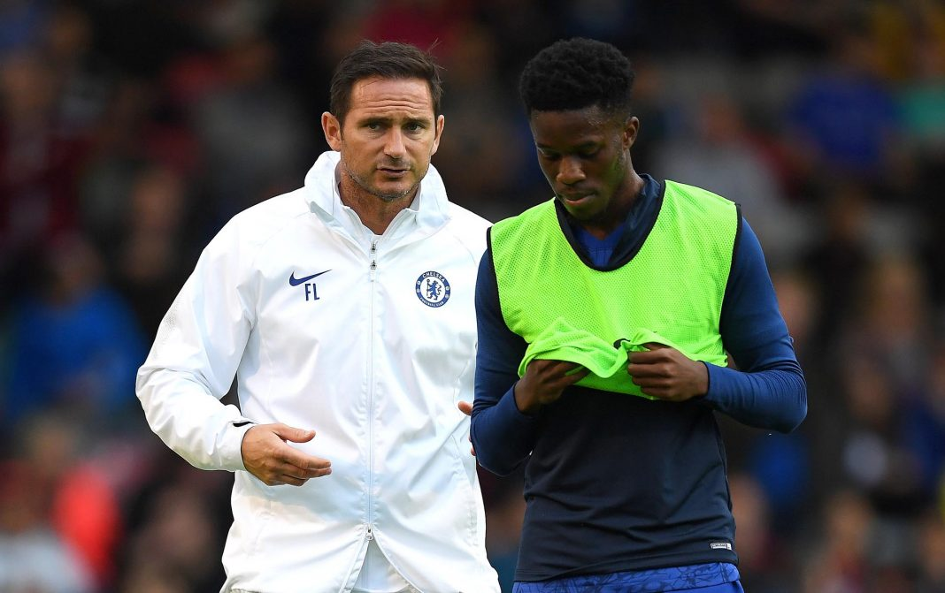 Frank Lampard speaks to Ike Ugbo at half time during the Pre-Season Friendly match between Bohemians FC and Chelsea FC at Dalymount Park on July 10, 2019 in Dublin, Ireland.