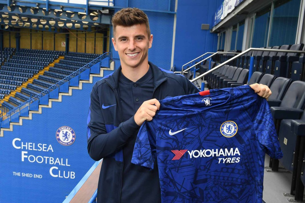 Mason Mount Signs a new five year contract at Chelsea at Stamford Bridge on July 14, 2019 in London.