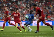 N'Golo Kante controls the ball from Andy Robertson of Liverpool during the UEFA Super Cup match between Liverpool and Chelsea at Vodafone Park on August 14, 2019 in Istanbul, Turkey.