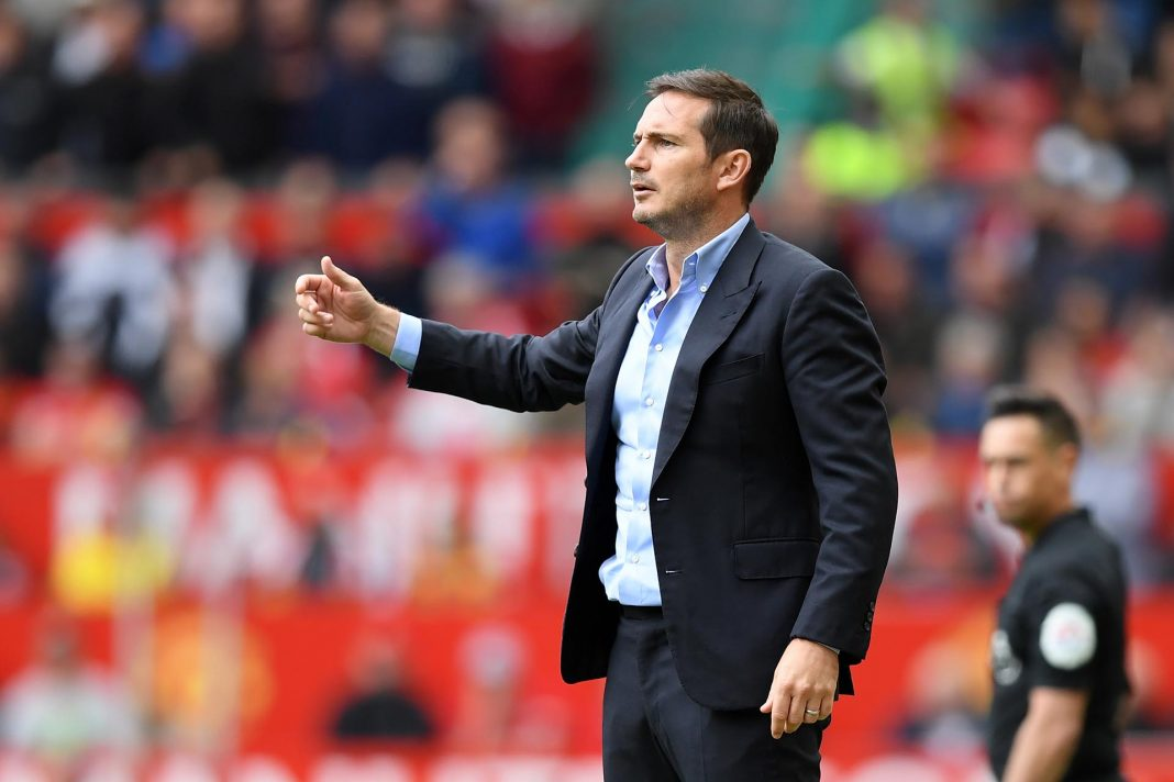 Frank Lampard gives his team instructions during the Premier League match between Manchester United and Chelsea FC at Old Trafford on August 11, 2019 in Manchester.