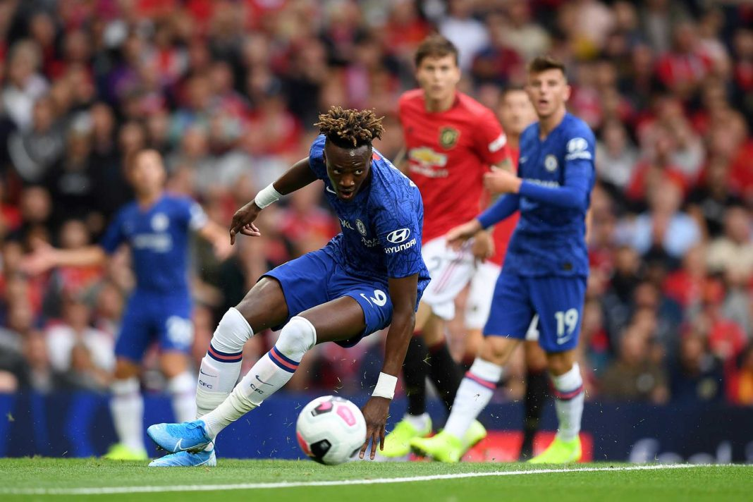 Tammy Abraham controls the ball during the Premier League match between Manchester United and Chelsea FC at Old Trafford on August 11, 2019 in Manchester.