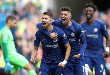 Jorginho celebrates with teammate Mason Mount after scoring his team's first goal during the Premier League match between Chelsea FC and Brighton & Hove Albion at Stamford Bridge on September 28, 2019 in London.