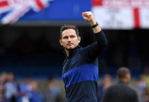 Frank Lampard acknowledges the fans following victory in the Premier League match between Chelsea FC and Brighton & Hove Albion at Stamford Bridge on September 28, 2019 in London.