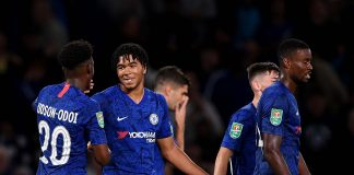 Reece James celebrates with Callum Hudson-Odoi after he scores his sides 5th goal during the Carabao Cup Third Round match between Chelsea FC and Grimsby Town at Stamford Bridge on September 25, 2019 in London, England.