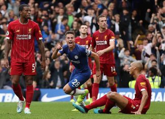 Cesar Azpilicueta of celebrates scoring his teams opening goal which was later ruled out by VAR during the Premier League match between Chelsea FC and Liverpool FC at Stamford Bridge on September 22, 2019 in London.