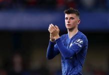 Mason Mount applauds fans after his sides defeat in the Premier League match between Chelsea FC and Liverpool FC at Stamford Bridge on September 22, 2019 in London.