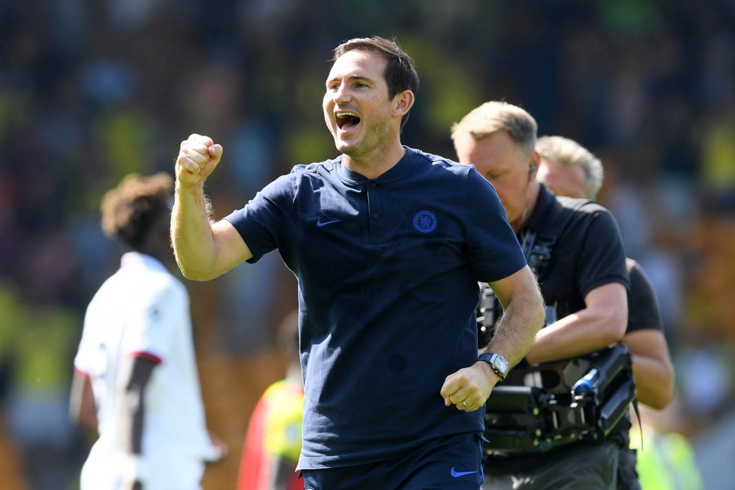 Frank Lampard celebrates following his sides victory in the Premier League match between Norwich City and Chelsea FC at Carrow Road on August 24, 2019 in Norwich.