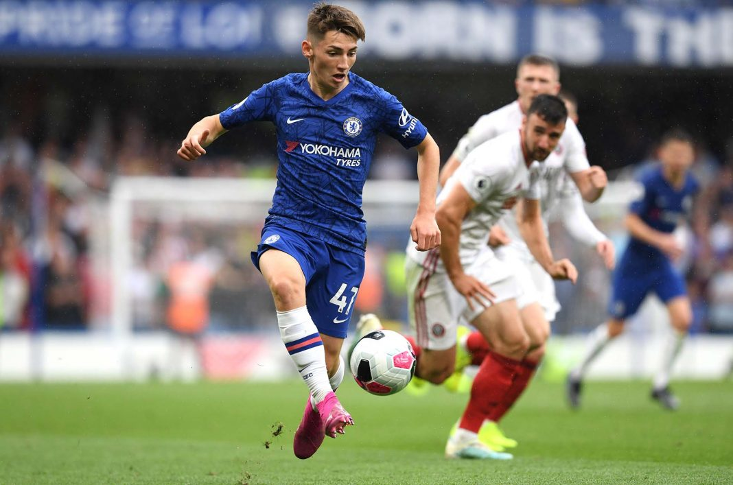 Billy Gilmour runs with the ball during the Premier League match between Chelsea FC and Sheffield United at Stamford Bridge on August 31, 2019 in London.