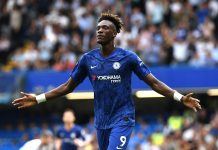 Tammy Abraham celebrates after scoring his team's second goal during the Premier League match between Chelsea FC and Sheffield United at Stamford Bridge on August 31, 2019 in London.