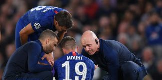 An injured Mason Mount of Chelsea is given treatment during the UEFA Champions League group H match between Chelsea FC and Valencia CF at Stamford Bridge on September 17, 2019 in London.