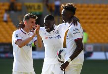 Mason Mount, Fikayo Tomori and Tammy Abraham celebrate following their sides victory in the Premier League match between Wolverhampton Wanderers and Chelsea FC at Molineux on September 14, 2019 in Wolverhampton, United Kingdom.