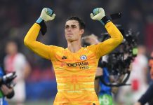 Kepa Arrizabalaga of Chelsea celebrates following victory in the UEFA Champions League group H match between AFC Ajax and Chelsea FC at Amsterdam Arena on October 23, 2019 in Amsterdam, Netherlands.