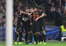 Michy Batshuayi celebrates with teammates after scoring his team's first goal during the UEFA Champions League group H match between AFC Ajax and Chelsea FC at Amsterdam Arena on October 23, 2019 in Amsterdam, Netherlands.