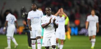 N'Golo Kante of Chelsea celebrates during the UEFA Champions League group H match between Lille OSC and Chelsea FC at Stade Pierre Mauroy on October 02, 2019 in Lille, France.