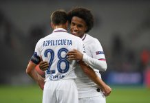Willian and Cesar Azpilicueta of Chelsea during the UEFA Champions League group H match between Lille OSC and Chelsea FC at Stade Pierre Mauroy on October 02, 2019 in Lille.