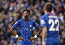 Tammy Abraham reacts during the Premier League match between Chelsea FC and Newcastle United at Stamford Bridge on October 19, 2019 in London.
