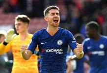 Jorginho of Chelsea celebrates following his sides victory in during the Premier League match between Southampton FC and Chelsea FC at St Mary's Stadium on October 06, 2019 in Southampton.