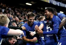 Cesar Azpilicueta of celebrates with teammates after scoring his team's fifth goal which is later disallowed during the UEFA Champions League group H match between Chelsea FC and AFC Ajax at Stamford Bridge on November 05, 2019 in London.