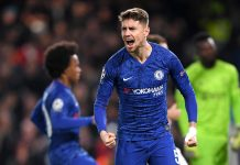Jorginho of Chelsea celebrates after scoring his team's first goal during the UEFA Champions League group H match between Chelsea FC and AFC Ajax at Stamford Bridge on November 05, 2019 in London.