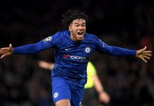 Reece James celebrates after scoring his team's fourth goal during the UEFA Champions League group H match between Chelsea FC and AFC Ajax at Stamford Bridge on November 05, 2019 in London.