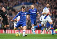 Mason Mount takes a shot during the Premier League match between Chelsea FC and Crystal Palace at Stamford Bridge on November 09, 2019 in London.