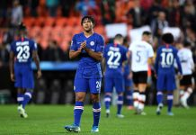Reece James shows his appreciation to the fans after the UEFA Champions League group H match between Valencia CF and Chelsea FC at Estadio Mestalla on November 27, 2019 in Valencia, Spain.