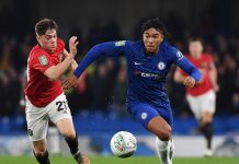 Reece James gets away from Daniel James of Manchester United during the Carabao Cup Round of 16 match between Chelsea and Manchester United at Stamford Bridge on October 30, 2019 in London.