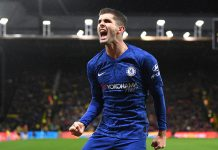 Christian Pulisic of Chelsea celebrates after scoring his team's second goal during the Premier League match between Watford FC and Chelsea FC at Vicarage Road on November 02, 2019 in Watford.