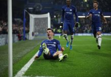 Mason Mount of Chelsea celebrates after scoring his team's second goal during the Premier League match between Chelsea FC and Aston Villa at Stamford Bridge on December 04, 2019 in London.