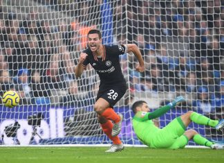Cesar Azpilicueta of celebrates scoring his team's first goal during the Premier League match between Brighton & Hove Albion and Chelsea FC at American Express Community Stadium on January 01, 2020 in Brighton.