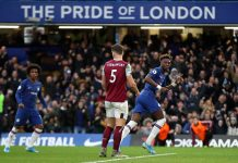 Tammy Abraham celebrates after scoring his team's second goal during the Premier League match between Chelsea FC and Burnley FC at Stamford Bridge on January 11, 2020 in London.