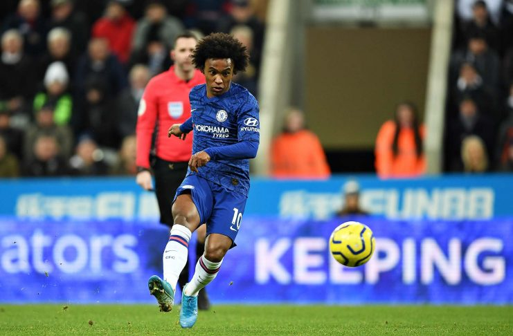 Willian in action during the Premier League match between Newcastle United and Chelsea FC at St. James Park on January 18, 2020 in Newcastle upon Tyne.