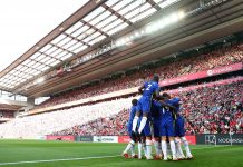 General view inside the stadium as Kai Havertz of Chelsea celebrates with teammates after scoring their team's first goal during the Premier League match between Liverpool and Chelsea at Anfield on August 28, 2021 in Liverpool.