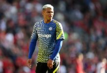 Thiago Silva of Chelsea warms up ahead of the Premier League match between Liverpool and Chelsea at Anfield on August 28, 2021 in Liverpool, England.