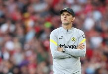 Thomas Tuchel, Manager of Chelsea looks on during the Premier League match between Liverpool and Chelsea at Anfield on August 28, 2021 in Liverpool.